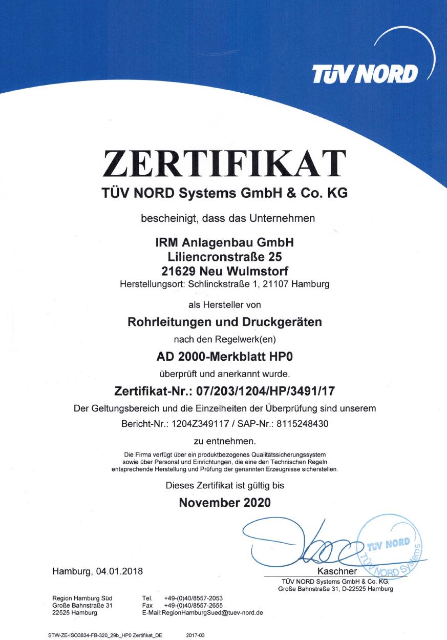 Zertifikat AD 2000 HP0 bis 2020
