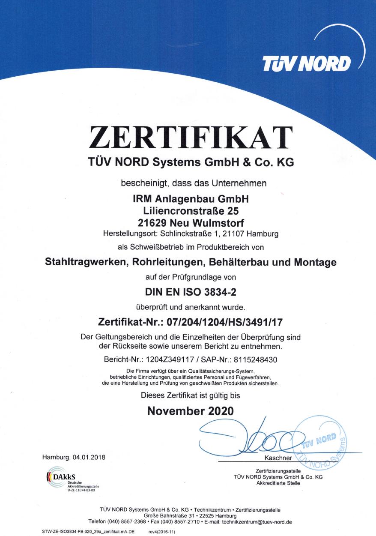 Zertifikat DIN EN ISO 3834-2 bis 2020